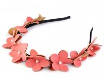 c77c7702a96 Čelenka do vlasů s květy a perlami 1 ks 2 růžová korálová - koupit ...